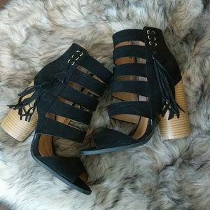 Thick heel black booties
